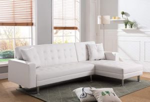 WHITE Tufted Faux Leather Sectional Sofa Bed Reversible Chaise / SILLON BLANCO CAMA for Sale in Temecula, CA