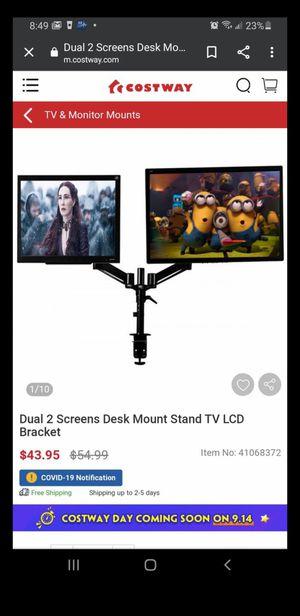 Dual 2 Screens Desk Mount Stand TV LCD Bracket for Sale in Riverside, CA