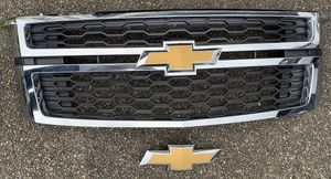 2016 Chevrolet Tahoe front grill & rear bow tie, plus full set of OEM floor mats (black) for Sale in Tacoma, WA