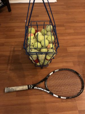 Tennis Racket, Tennis Ball Crate, 50 Tennis Balls for Sale in Los Angeles, CA