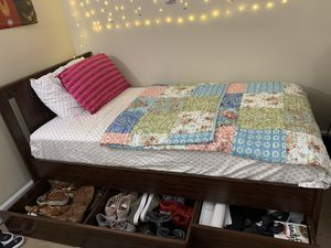 IKEA SONGESAND Wooden Twin Bed Frame with two storage boxes for Sale in Berwyn Heights, MD