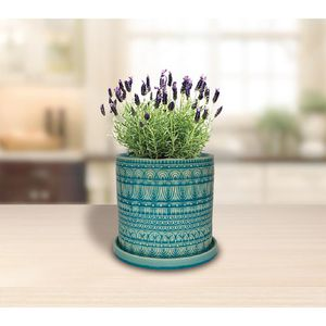 8 in. Blue Ceramic Seven Seas Cylinder Planter Pot Indoor Outdoor Plants with Drainage Hole & Saucer for Sale in Huntington Beach, CA