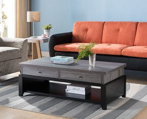 Ordaz Coffee Table, Distressed Grey and Black for Sale in Midway City, CA