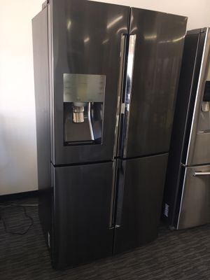 Samsung black Stainless Steel 4 Flex Door Refrigerator With Chosecase With Warranty Scraches Dent No Credit Needed Just $79 The Down payment Cash pri for Sale in Garland, TX