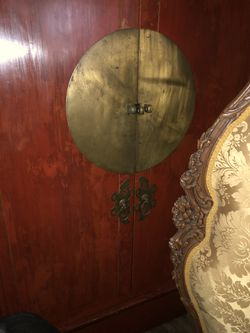 Red Chinese Antique Wedding Chest Accentuated with Brass Door Medallion and Red Lacquer for Sale in Hillsborough,  CA