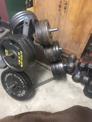 Olympic weights, weight tree, dumbbells 1.65 per pound for Sale in Columbus, OH