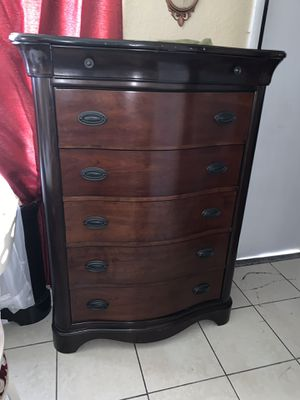 King bed frame dresser with mirrors chest drawers and two night stand mattress with box springs for Sale in Miami, FL