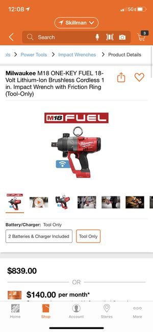 Milwaukee M18 ONE-KEY FUEL 18-Volt Lithium-Ion Brushless Cordless 1 in. Impact Wrench with Friction Ring for Sale in Dallas, TX