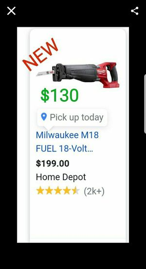 brand new Milwaukee m18 fuel sawzall only $130. New never used still in plastic for Sale in Palmdale, CA