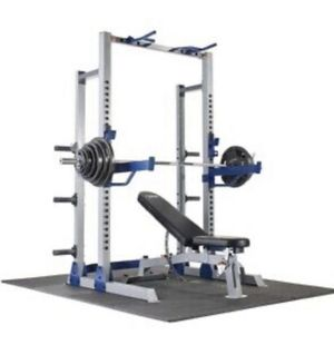 "🔥🤩 Brand New Complete Set 🤩🔥300lbs Olympic Weight Set with 7"" Bar & Fitness Gear Pro Half Rack & Fitness Gear Pro Utility Weight Bench ‼️🔥 for Sale in Miami, FL"