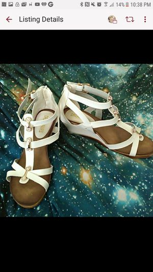 Stunning white leather dream pairs gladiator wedges with rhinestones for Sale in Lewisville, TX