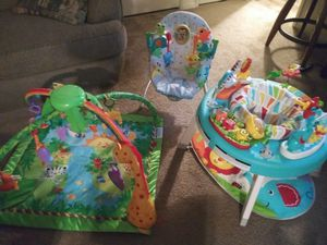 2 activity centers (standing and laying) and bouncer for Sale in La Mesa, CA