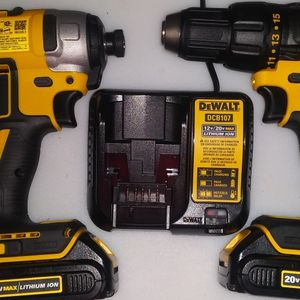"""DeWalt Brushless 1/2""""Cordless Drill And 1/4 Impact Wrench With 2. Volt. Max Batteries And Charger for Sale in Mount Holly, NJ"""