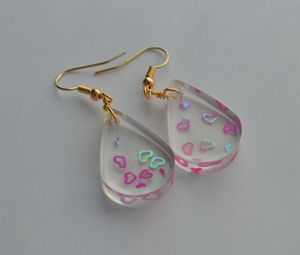 Handmade Resin teardrop heart gold plated Earring for Sale in Bethpage, NY