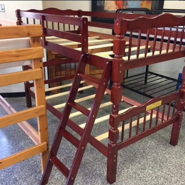 Brand New Twin Size Cherry Wood Bunk Bed + 2 Mattresses