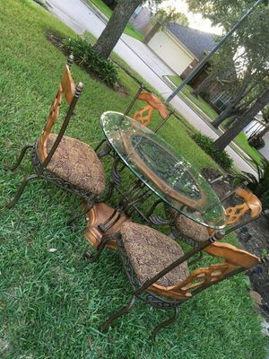 WOODEN AND METAL DINNING SET WITH GLASS/ WINE BAR TABLE for Sale in Richmond, TX