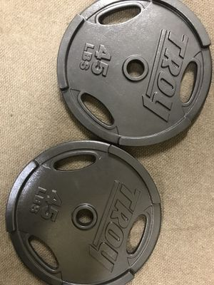 Pair 45s lbs Olympic Troy weight plates barbell for Sale in Rosemead, CA