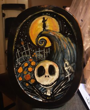 Original Nightmare Before Christmas Scene on Wooden Plaque Painting for Sale in Terre Haute, IN