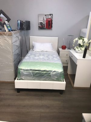 Brand new twin $450 full $480 bedroom set 4 pc bed frame chest vanity with mirror 1 nightstand no mattress for Sale in Miami, FL