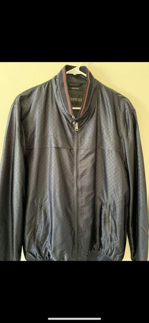 Men's Gucci Nylon Bomber Jacket (L - Navy Blue) for Sale in Beverly Hills, CA