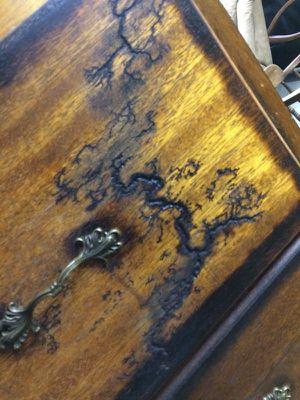 L shaped dresser w/fractal burning for Sale in Abilene, TX