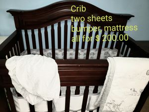 Crib, mattress, sheets. Blanket, rocket chair, car and seat for baby for Sale in Hollywood, FL