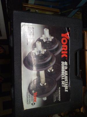 York 40 lb adjustable dumbbell set for Sale in Tampa, FL