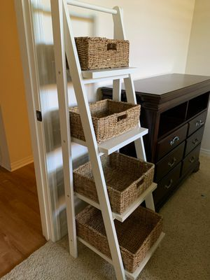 Pottery Barn Ainsley Ladder Floor Storage with Baskets for Sale in Huntington Beach, CA