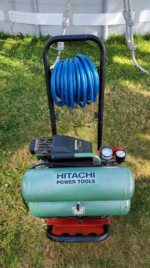 Hitachi Air compressor 2hp. 125psi. 4gal. And new hose. for Sale in Mount Angel, OR