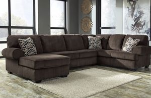 Corduroy brown sectional couch for Sale in Houston, TX