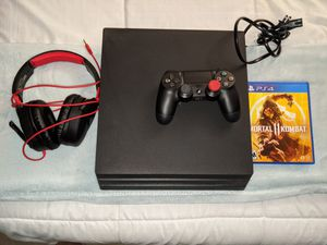 PS4 pro with Mortal Kombat 11 controller and headset for Sale in Cape Coral, FL