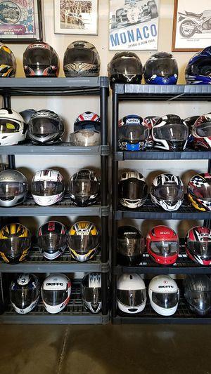 Large assortment of motorcycle helmets HJC , SHOEI , SCORPION, SEVEN ZERO SEVEN for Sale in Manteca, CA