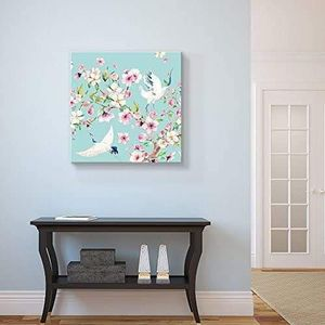 ((FREE SHIPPING)) Square canvas wall art - light blue watercolor style painting a two cranes blooming tree branch Painting like print for Sale in Hillsborough, CA