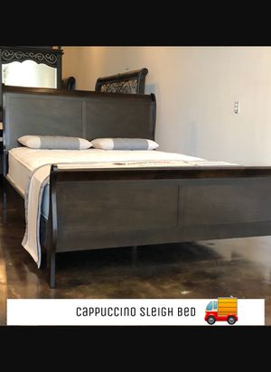 Queen cappuccino sleigh bed with mattress and free delivery for Sale in Austin, TX