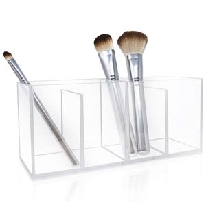 4-Slot Clear Acrylic Organizer- Makeup Brush Holder With Two Removable Dividers, $19.50 for Sale in Los Angeles, CA