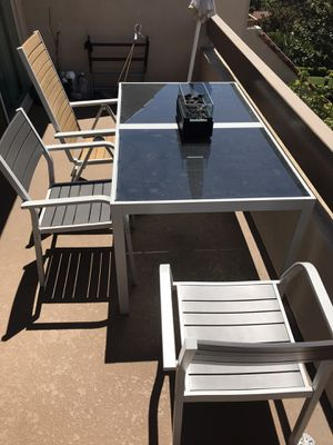 IKEA Patio Table Patio Set 2 chairs 1 Reclining Chair and Tabletop Firepit for Sale in Newport Beach, CA