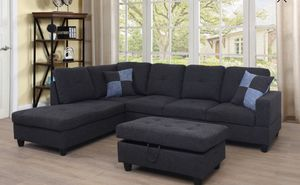 Black gray sectional couch with storage ottoman. Fabric linen for Sale in San Francisco, CA