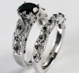 (FREE SHIPPING) Brand New Wedding Band Silver Black Sapphire Engagement Ring Set Woman's Jewelry for Sale in Pine Bluff, AR