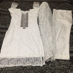 "Pakistani Indian Shalwar Kameez Dress Outfit bust size 37"" fancy white wedding party net for Sale in Spencerville, MD"