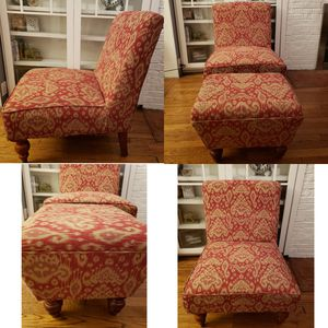 Red Patterned Chair and Ottoman Set for Sale in Chicago, IL