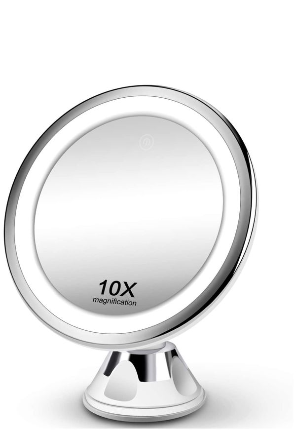 Makeup Mirror 10X Magnifying Vanity Mirror - 3 Color Modes & 36 LED Cosmetic Mirror, Touch Control, High Definition, 360°Rotation & Powerful Suction