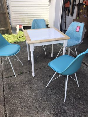 5 piece dinette set( white &Teal) for Sale in Norton, OH