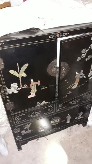 antique inlaid cabinet with locks for Sale in Tucson, AZ