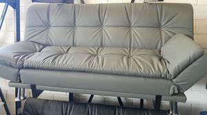 Grey Leather Sofa Sleeper Futon for Sale in Dallas, TX