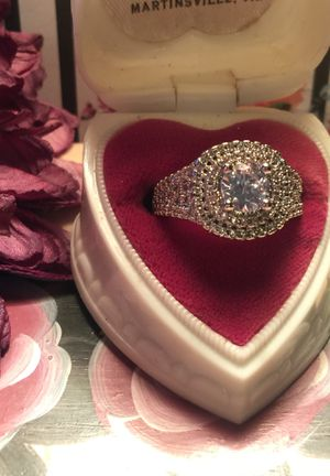 Beautiful engagement ring pave set sapphires with round center sapphire on stamped 925 sterling silver for Sale in Northfield, OH