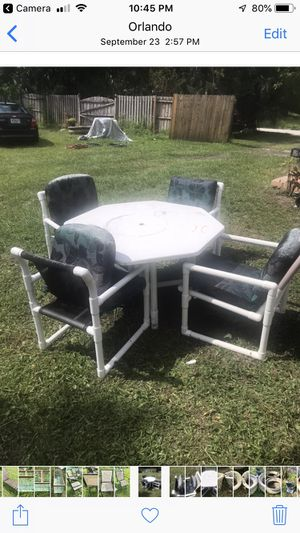 PVC outdoor dining table with 4 chairs 40.00 OBO for Sale in Orlando, FL