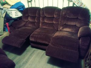 """Wine colored couch and love seat both with recliners"""" great shape for Sale in Tullahoma, TN"""