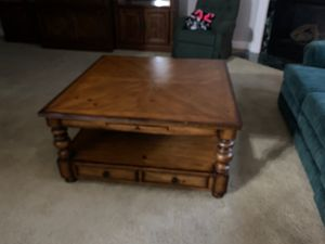 Solid wood coffee table with 2 drawers & 4 pullouts good condition for Sale in Whitsett, NC