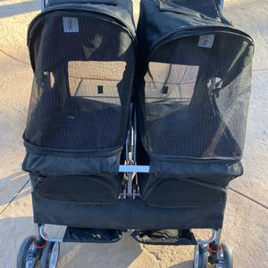 brand new black double seat dog stroller for Sale in Fontana, CA
