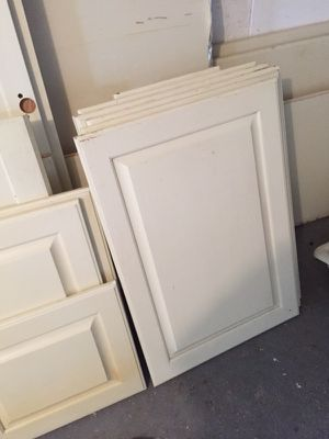 Kitchen cabinet doors and drawer replacements and 36 feet of corian counters plus double sink and hardware for Sale in North Versailles, PA